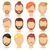 Skäggvektorportraite av den skäggiga mannen med manlig frisyr i frisersalong och den försåg med en hulling mustaschen på hipsters stock illustrationer