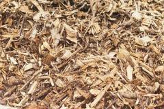 Skälla trä Chip Mulch Sikt för full bakgrund royaltyfri fotografi