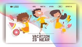 Skämtsamma barn för lycklig för yong för ungevektorwebbsida barn för tecken för barndom för lycka bakgrund för illustration holog stock illustrationer