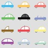 Skämtsamma bilillustrationer, mång- former för uppsättning och färger vektor illustrationer