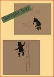 Skämtsamt behandla som ett barn björnar på illustration för trädtappningaffisch Arkivfoto