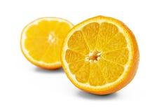 Skär upp mandarinnärbilden på fotonen av det andra suddigt halverar Arkivbilder