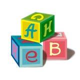 Skära i tärningar alfabet en uppsättning av barns leksaker Royaltyfria Bilder