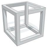 Skära i tärningar den optiska illusionen Arkivbild