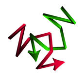 Skärande riktningspilar korsad affärsidé för symbol 3d Vektorillustration som isoleras på vit bakgrund Arkivbilder