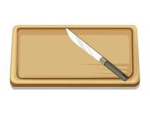 Skärbräda och kniv isolerad illustration Arkivbild