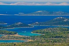 Skärgård för Kornati nationalparkparadis Arkivbilder