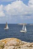 skärgårdsegelbåtar Fotografering för Bildbyråer