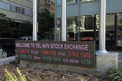 Skärm av aktiemarknaden, Tel Aviv, Israel Arkivbilder