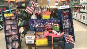 Skärm av amerikanska flaggan och varoren för minnesdagen 2018 Royaltyfri Fotografi