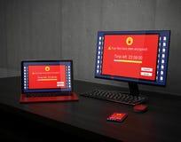 Skärm av bärbara datorn, skrivbords- PC och smartphonevisningvarning att apparaterna anfölls av ransomware Royaltyfria Foton