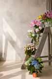 Skärm av blomsterhandeln med buketter royaltyfri fotografi