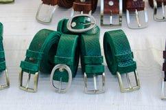Skärm av den läder tillverkade decinturen royaltyfri foto