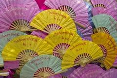 Skärm av färgrika thai fans Fotografering för Bildbyråer
