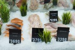 Skärm av skaldjur i en shoppa i Melbourne, Australien Arkivfoton