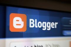 skärm bloggerinternetför huvudsida Arkivbild