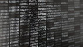 Skärm för binär kod stock video