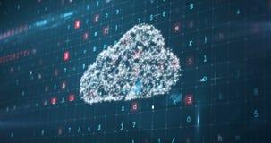 Skärm för Digital manöverenhet med säkerhetskoder och molnbegrepp stock video