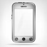 Skärm för främre sikt för Chrome smart telefon tom Fotografering för Bildbyråer