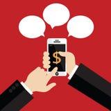 Skärm för hållande vit smartphone för hand rörande Royaltyfri Bild
