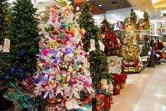 Skärm för julferieträd på detaljisten Fotografering för Bildbyråer