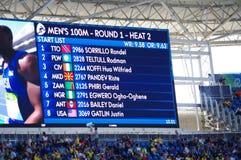 Skärm för OS:er Rio2016 Arkivfoto