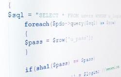 skärm för php för lcd för kodspråk Royaltyfria Bilder