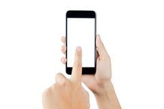 Skärm för smart telefon för handinnehav tom Kvinnahand genom att använda smart ph Fotografering för Bildbyråer