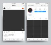 Skärm för Smartphone fotoramar av den mobila applikationen som inspireras av instagramvektormallen stock illustrationer