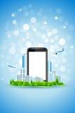 skärm för telefon för blå stad för bakgrund tom stock illustrationer