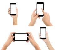 Skärm för telefon för kvinnahandhåll som tom isoleras på vit bakgrund arkivfoton