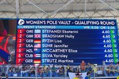 Skärm - kvinnors stavhopp på Rio2016 Arkivfoton
