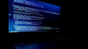 Skärm med kod för programvarubärare Suddighet lampor Royaltyfri Fotografi