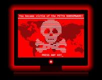 Skärmen för attack för den Ransomware dataviruscyberen kyler illustrationen stock illustrationer