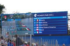 Skärmen med kvinnors för rodden Rio2016 par startar listan Arkivbilder