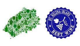 Skład Gronowa wino mapa Świątobliwa Helena wyspa i Najlepszy wina Grunge foka ilustracja wektor