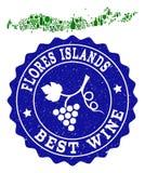 Skład Gronowa wino mapa wyspy i Najlepszy wina Grunge Watermark Indonezja, Flores - royalty ilustracja