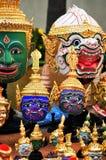 Skådespelares maskering av den thailändska dansen Royaltyfri Fotografi