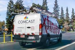 Skåpbil för Comcast kabel-/Xfinity service arkivfoto