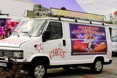 Skåpbil för Las Vegas högtalarecirkus Arkivbild