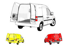 Skåpbilar på vitbakgrund. royaltyfri illustrationer