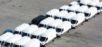 Skåpbilar som ska transporteras Fotografering för Bildbyråer