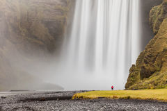Skógafoss-Wasserfall unter Mýrdalsjökull-Gletscher, Süd-Icelan Stockbild