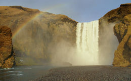 Skógafoss Waterfall. Is one of the biggest in Iceland with a width of 25 mts. and a drop of 60 mts royalty free stock images