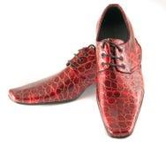 Skóra czerwoni buty Zdjęcia Royalty Free