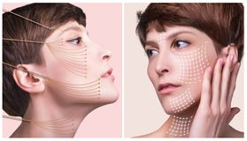Skóry chirurgii plastycznej pojęcie Kobiety twarz z ocenami i strzała obraz royalty free