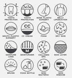 Skóry ikony wektor ustawia, płukanka i ciało/ Zdjęcia Royalty Free