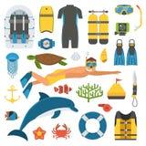 Skóry pikowanie i Snorkeling set ilustracji