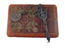 skórzany lorgnette książka Obrazy Royalty Free