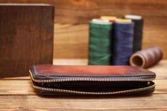 skórzany portfel brown Zdjęcia Stock
